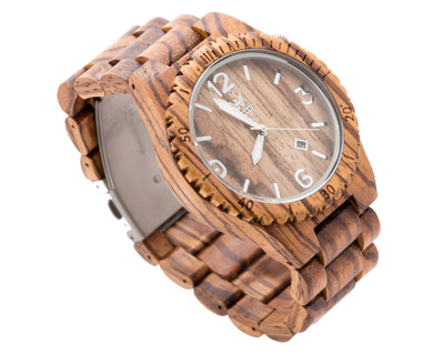 Woodin pleco zebrawood analog wooden watch wm02c02 thumb