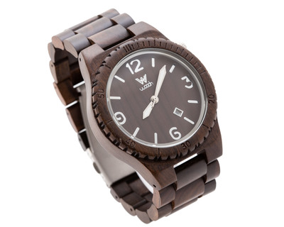 Woodin pleco ebony analog wooden watch wm02c03 thumb