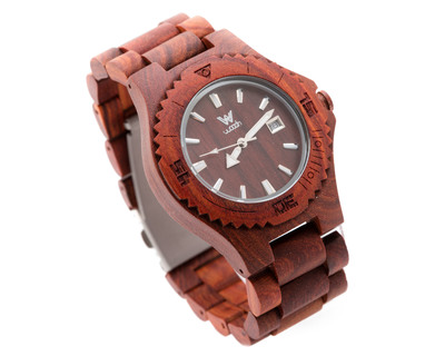 Woodin aruana red sandalwood analog unisex wooden watch wm01c02 thumb
