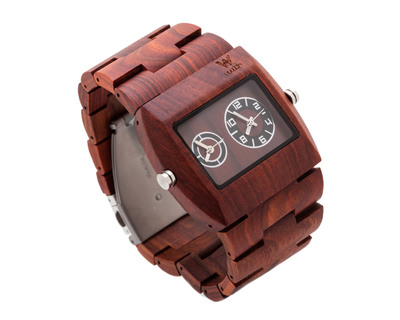 Woodin ornate red sandalwood analog unisex wooden watch wm03c02 thumb