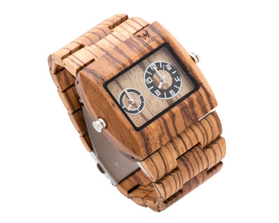 Woodin ornate zebrawood analog unisex wooden watch wm03c03 thumb