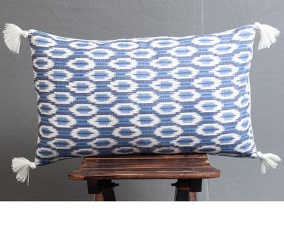Mati maison s ikat shades of indigo lumbar cushion cover thumb