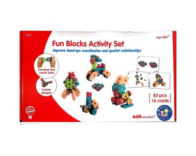 Fun blocks activity set 83 pcs 16 double sided activity cards thumb