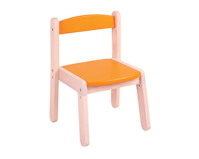 Wooden stacking chair orange thumb