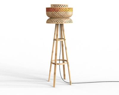 Bamboo lotus floor lamp thumb