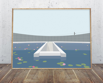 Water temple tadao ando wall art thumb