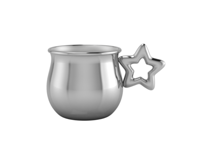 Silver plated star baby cup thumb