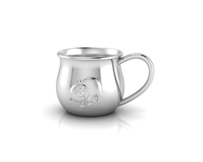 Silver plated baby cup with an embossed piggy thumb