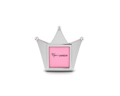 Silver plated crown photo frame for baby and kids thumb