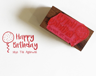 Personalised wooden text stamp with stamp pad happy birthday 1 thumb