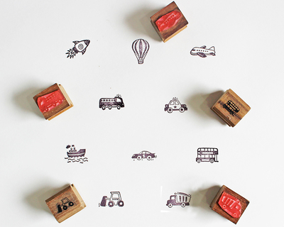 Wooden craft icon stamps ten stamps set with stamp pad vehicles thumb