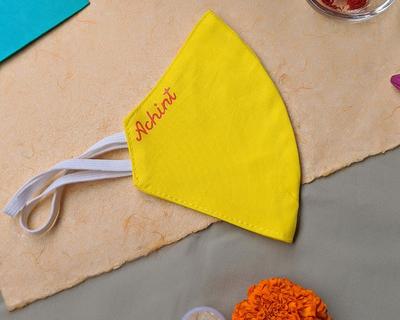 Personalised reusable hand painted masks lemon yellow thumb