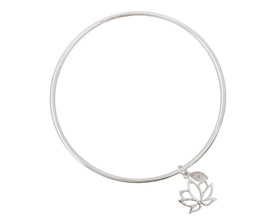 Silver 925 simplicity bangle with lotus charm thumb