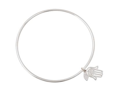 Silver 925 simplicity bangle with khamsa charm thumb
