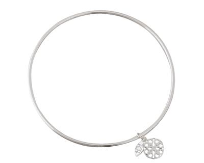 Silver 925 simplicity bangle with mandala charm thumb