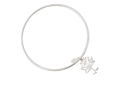 Silver 925 simplicity bangle with tree of life charm thumb