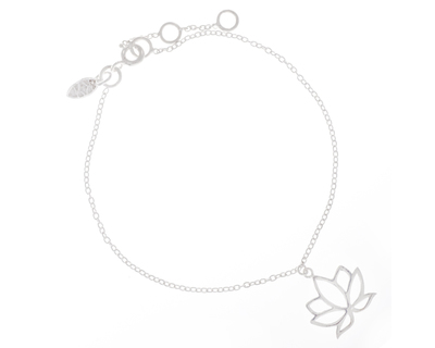 Silver 925 bracelet simplicity with lotus charm thumb