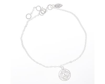 Silver 925 bracelet simplicity with mandala chakra charm thumb