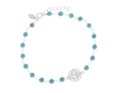 Silver 925 bracelet time to time with turquoise stones thumb