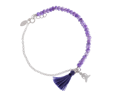 Silver 925 bracelet middle way with amethyst stones thumb