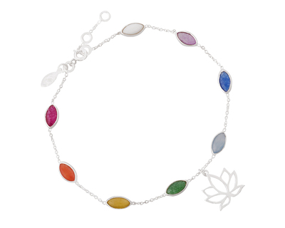Silver 925 rainbow bracelet with lotus charm thumb