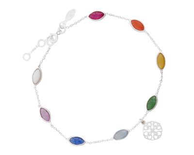 Silver 925 rainbow bracelet with mandala charm thumb