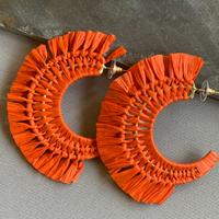 Crescent orange earrings small