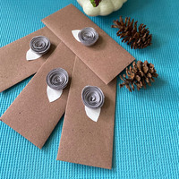 Envelope brown with grey rose small