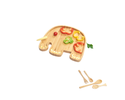 Wufiy wooden elephant shape plate free set of spoons thumb