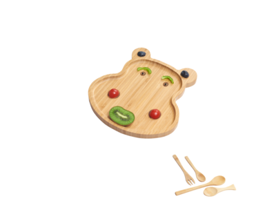 Wufiy wooden hippo shape plate free set of spoons thumb