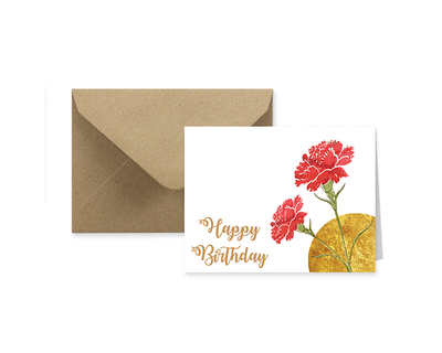Happy birthday floral gold accentuated greeting card thumb