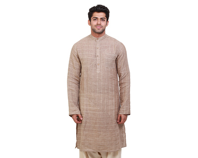 Pyramids striped beige kurta thumb
