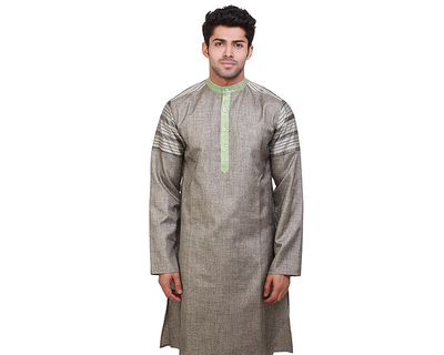 Islands green stripes kurta thumb