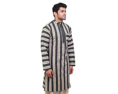 Jordan navy blue stripes kurta thumb