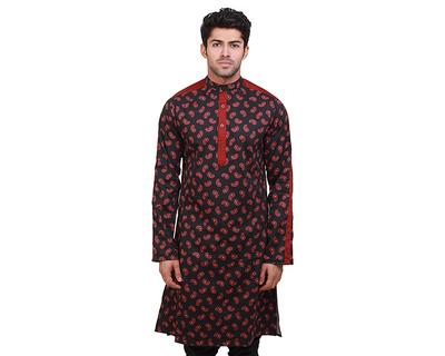 Daler black maroon paisley kurta thumb