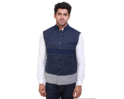 Gaurav blue check nehru jacket thumb