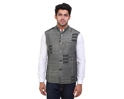 Zanzibar stripe silk nehru jacket thumb