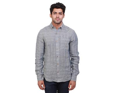 Pyramids striped linen shirt thumb