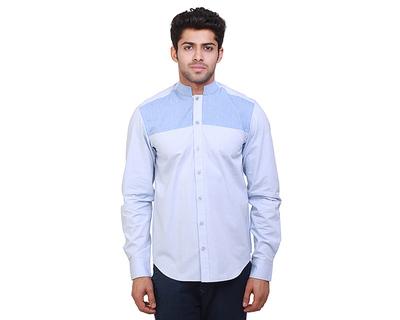 Beau blue chinese collar shirt thumb