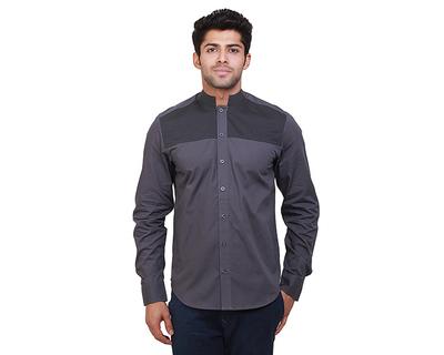 Beau grey chinese collar shirt thumb