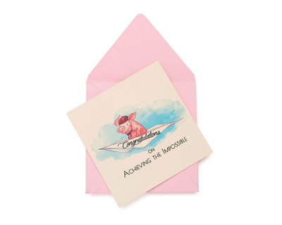 Pigs are flying greeting card thumb