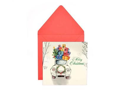 Greeting card santa s car riage thumb