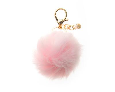 Blush pink pom pom keychains thumb