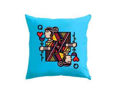 Queen of hearts blue cushion cover thumb