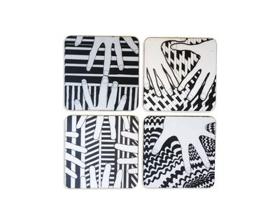 Hand at art coaster black and white thumb