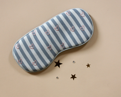 Cute eye mask with hearts blue thumb