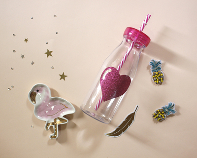 Glitter heart bottles pink thumb