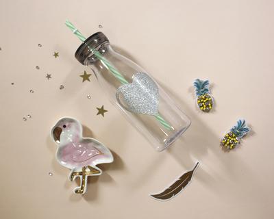 Glitter heart bottles silver thumb