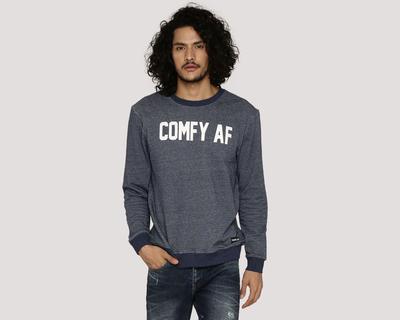 Comfy af blue melange sweatshirt thumb
