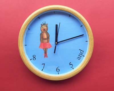 Ballet bear wall clock thumb
